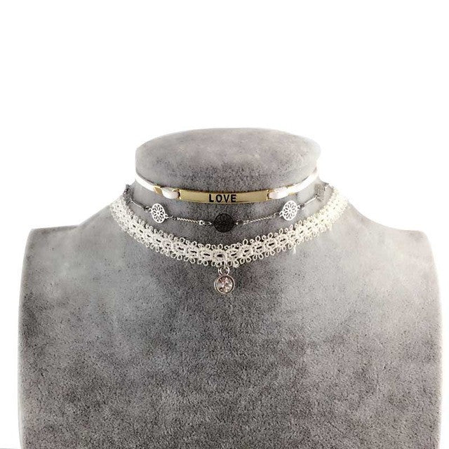 Authentic Lace Leathered Choker Necklace,  - By Classier