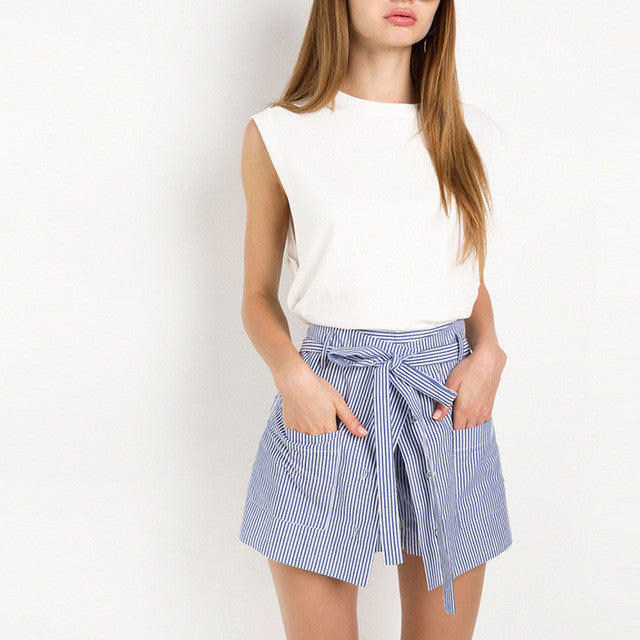 Stripe Shorts Loose Casual Short,  - By Classier