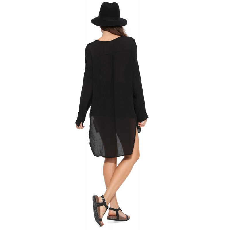 Solid Black Blouse Button Double Pockets,  - By Classier
