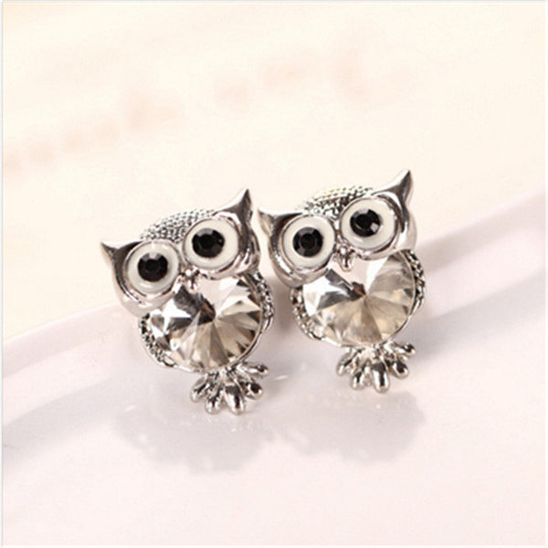 Crystal Owl Stud Bright colored Women Earrings,  - By Classier