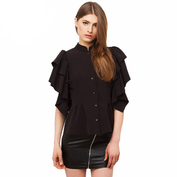 Black Buttons Slim Chiffon Blouse,  - By Classier