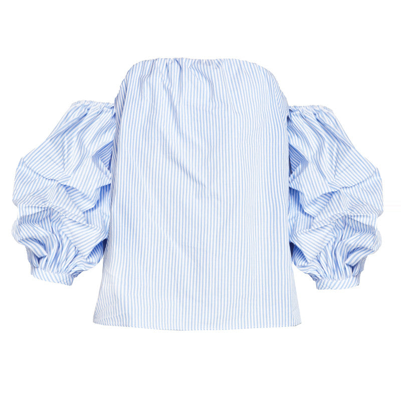 Blue And White Striped Sweet Blouse,  - By Classier