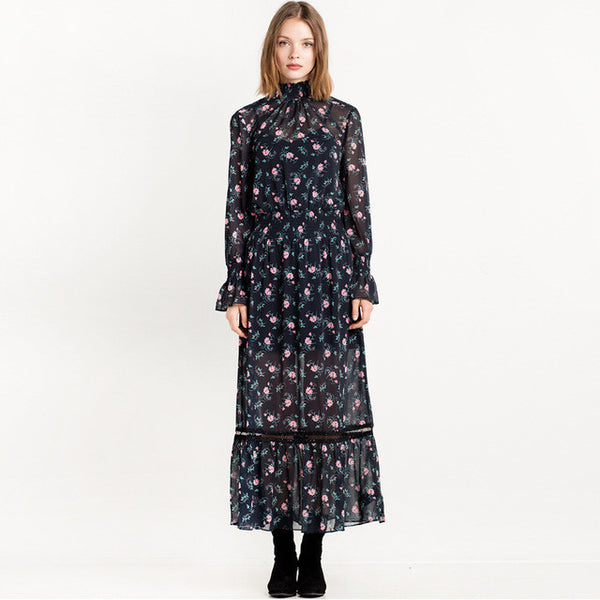 Floral Print Full Sleeve Stand Neck Dress, Dresses - By Classier