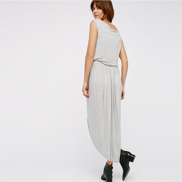 Asymmetric hem Knitting Solid O-Neck Dress, Dresses - By Classier