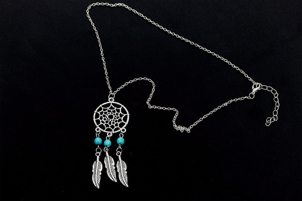 Aqua Dream Catcher Leaves Pendant Necklace,  - By Classier