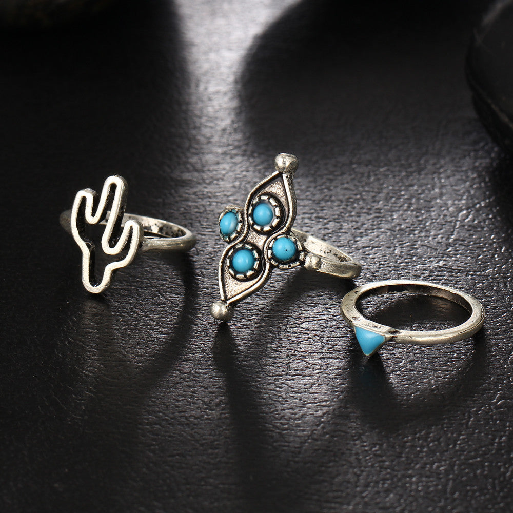 Anillos Blue Stone Cross Flower Knuckle Ring