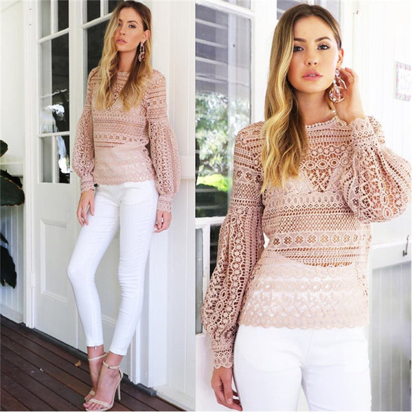 Brush Pink Lace Key Hole Back Bright Blouse,  - By Classier