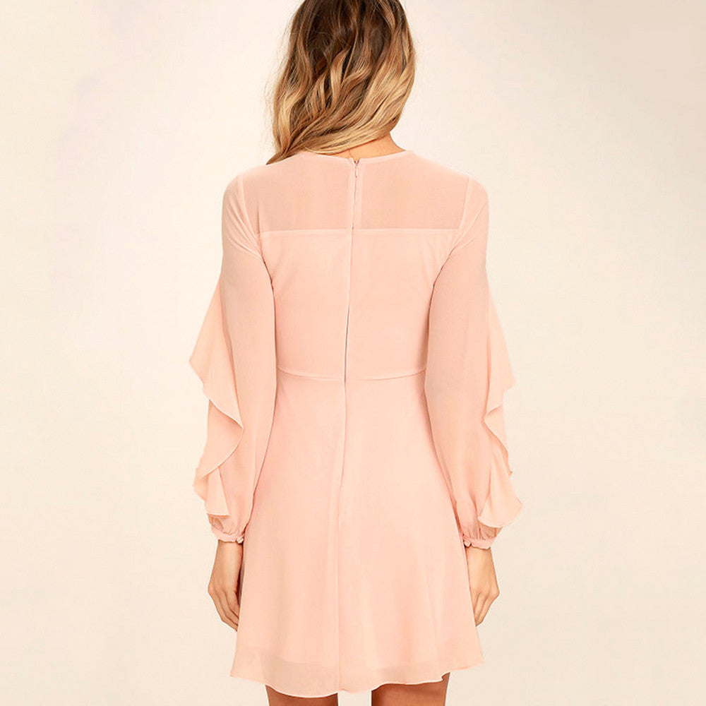 Solid Pink Sweet Ruffles A-Line Dress, Dresses - By Classier