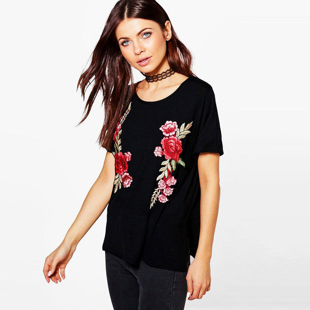 Embroidery O-neck Floral Print Tops,  - By Classier