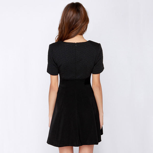 Flare Sleeve Hollow Out Solid Black Dress, Dresses - By Classier