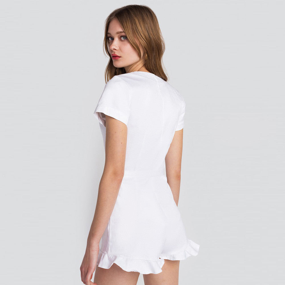 Elegant Playsuit Casual Solid White,  - By Classier