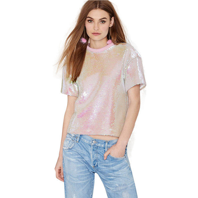 Short Sleeve Solid Pink Sequined T-Shirt,  - By Classier