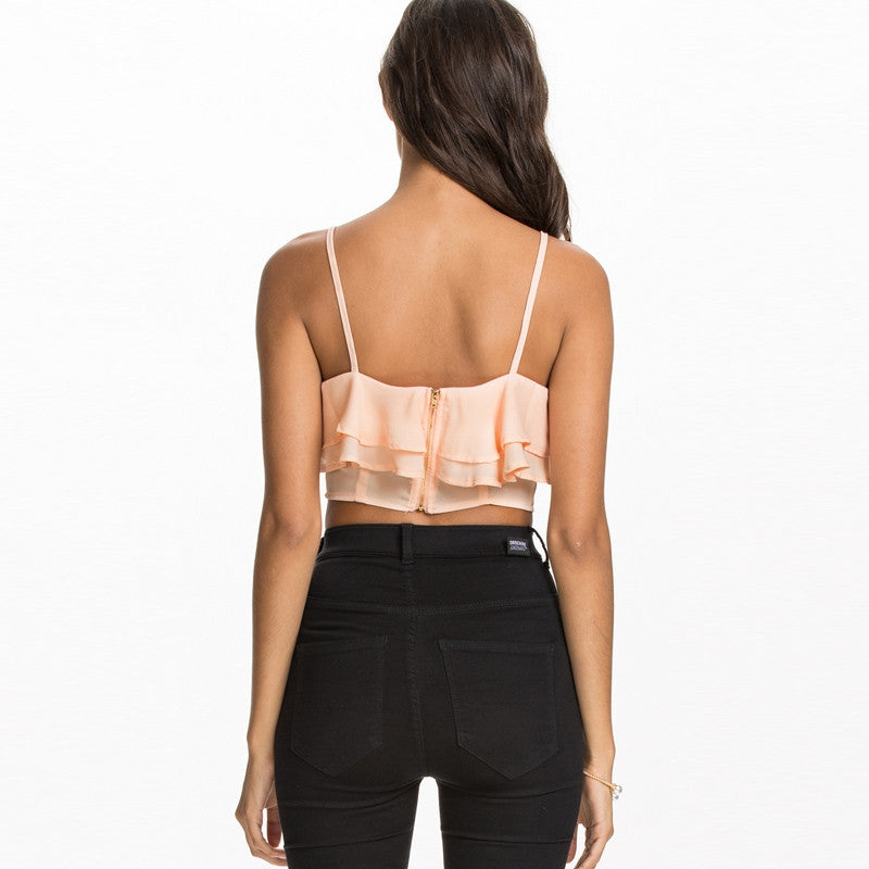 Casual Ruffles Off-shoulder Crop Tops,  - By Classier