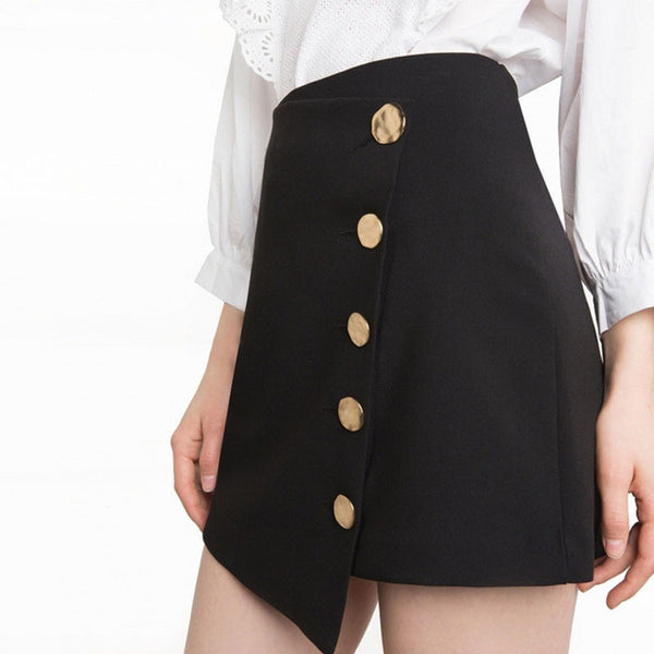 Solid Black Preppy Asymmetrical Button Mini Skirt,  - By Classier