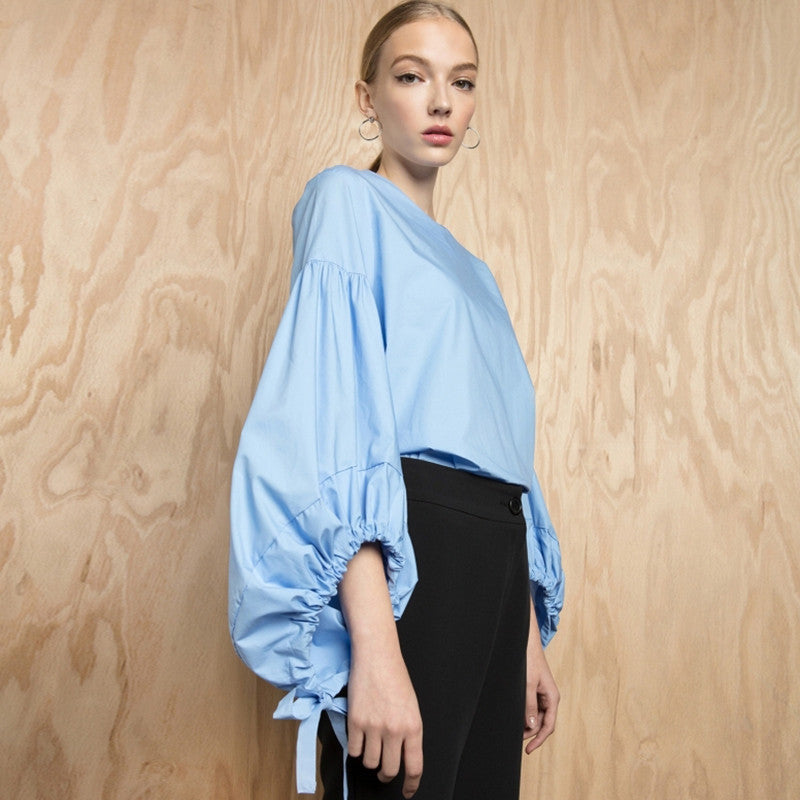 Solid Blue Loose O-neck Lantern Sleeve Tops,  - By Classier
