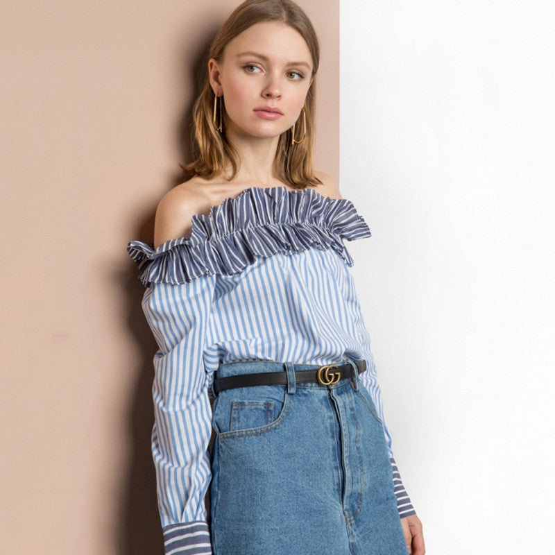Ruffles Patchwork Striped Blouse Off Shoulder,  - By Classier