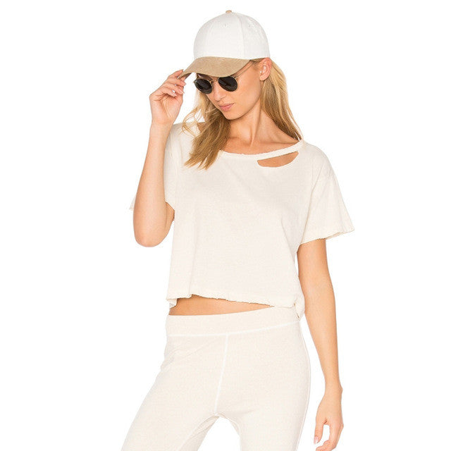 Solid White O-neck Short Sleeve Cute Tops,  - By Classier