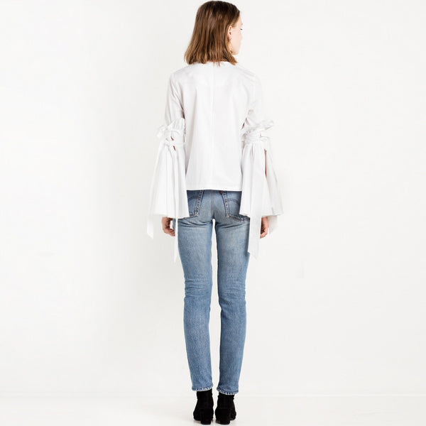 White Frill Elegant Casual Loose Blouse,  - By Classier