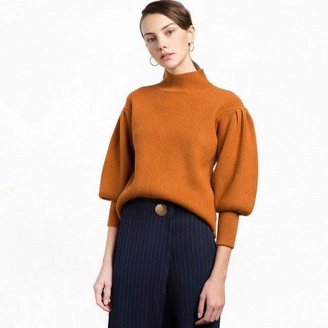 Casual Vintage Solid Orange Pullovers,  - By Classier