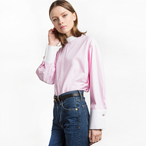 Style Color Block Patchwork Blouses,  - By Classier
