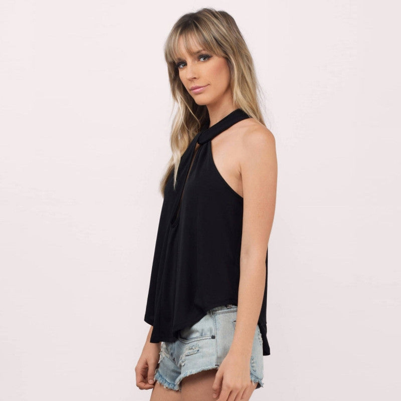 Casual Hollow Out Back Sleeveless Top,  - By Classier
