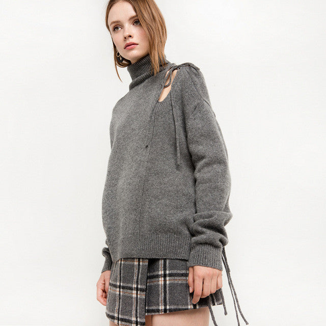 Casual Hollow Out Turtleneck Pullovers,  - By Classier