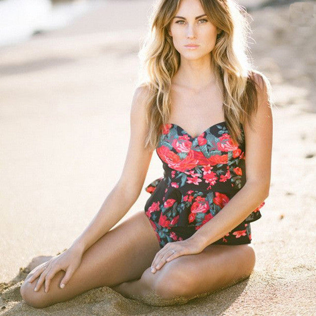 High Waisted Floral Tankini Bathing Suit