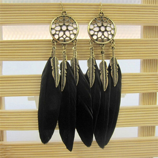 Hollow out Dream Catcher Feather Earrings
