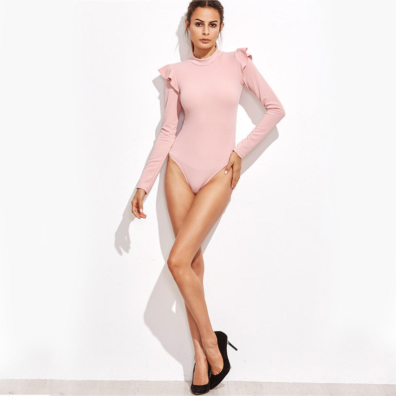 Pink Mock Frill Long Sleeve Bodysuit