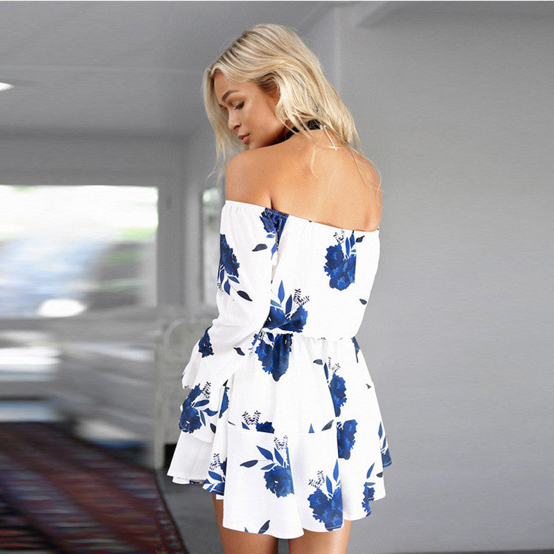 Off the Shoulder short Blue Floral Dress,  - By Classier