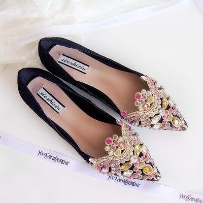 Baotuo Beaded Designer Lace Flat shoes