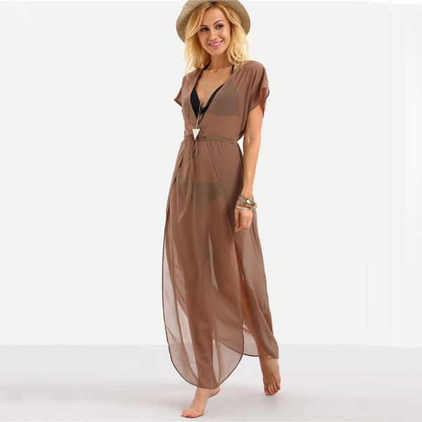 Drawstring Brown Beach Slit Maxi Dress