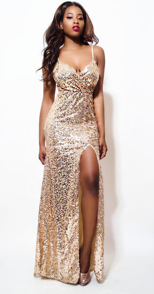 Spaghetti Strap Sequin High Slit Gold dress