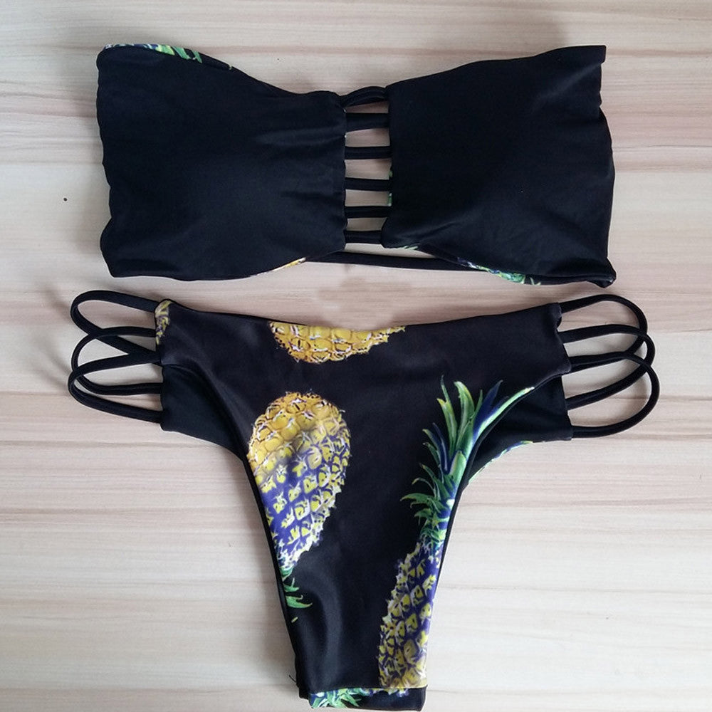 Hollow Out Pineapple Printed Swimsuit