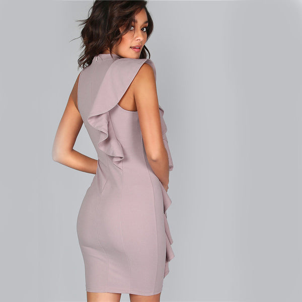 Exaggerated Frill One Sided Bodycon Dress