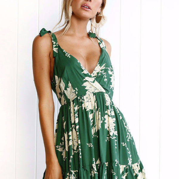 Floral Green Backless Mini Dress, Dresses - By Classier