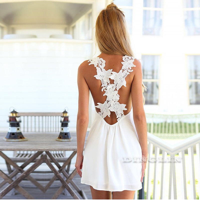 Floral Crochet  V neck Backless Mini Dress