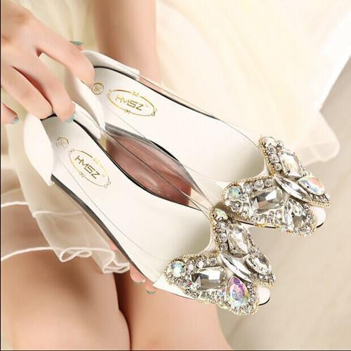 Butterfly Diamond Rhinestone Bow Flats
