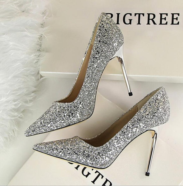 Ivanlen Gold Glitter Pumps High Heels
