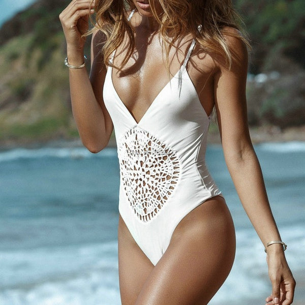 One Piece Crochet Hollow Black Swimsuit