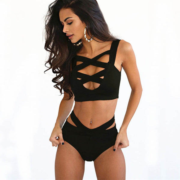 Criss Cross Bandage Wrap Top Bathing Suit