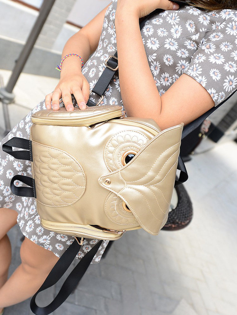 Leather Owl Female Fashion Backpack Bag