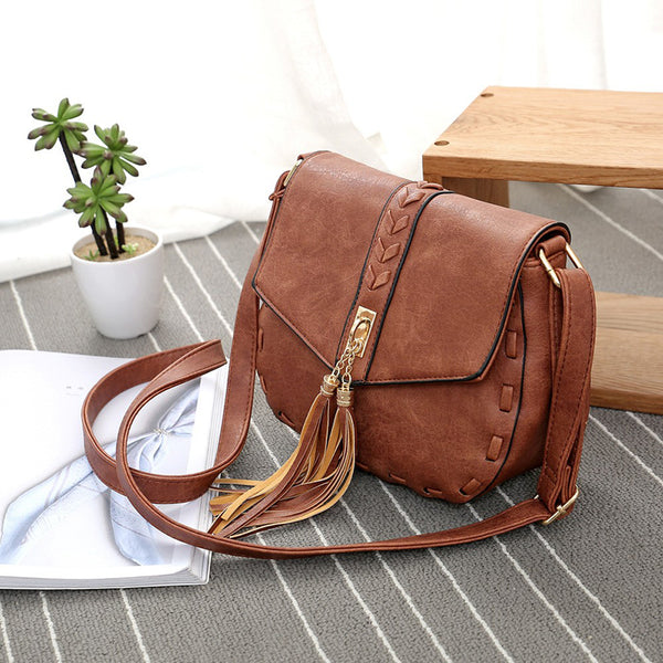 Tassel Leather Crossbody Handbag