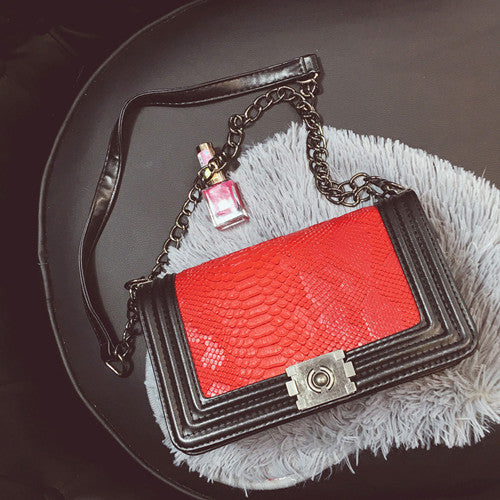 Luxury Serpentine Leather Pattern Women Bag