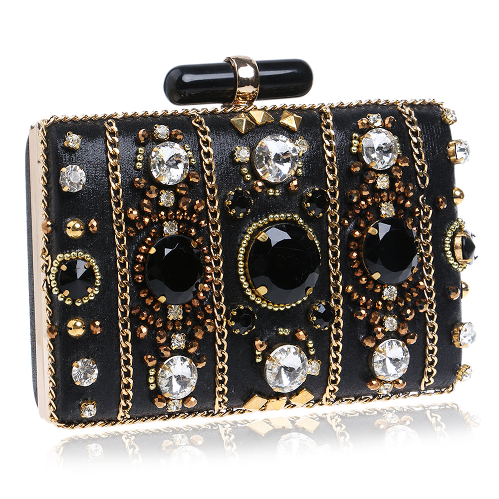 Beaded Chain Embroidery Clutches Handbag