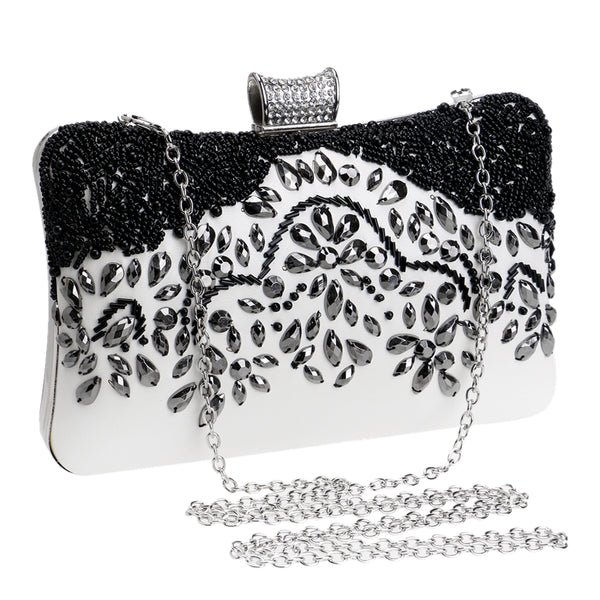 Beaded Handmade Black White Evening Bag