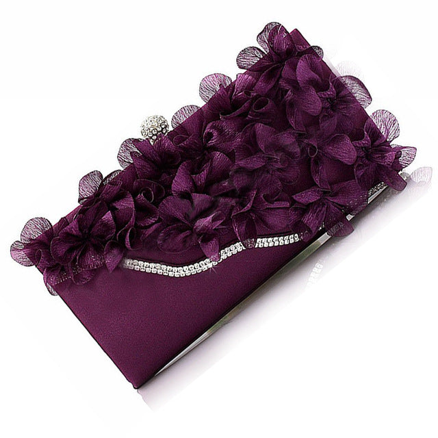Satin Flower Chain Shoulder Wedding Clutch