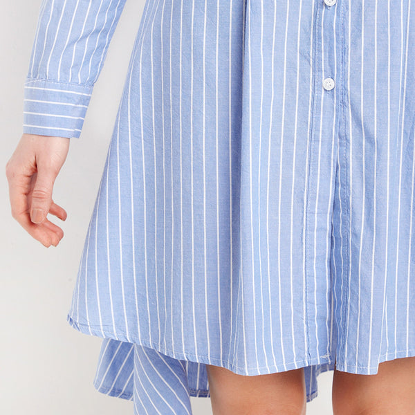 Casual Single Button Long Sleeve Striped Shirt, Dresses - By Classier