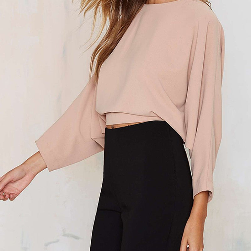 Solid Three Quarter Sleeve Crop Tops,  - By Classier