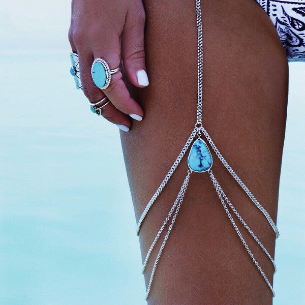 Gold Bohemian Vintage blue stone Body Chain,  - By Classier